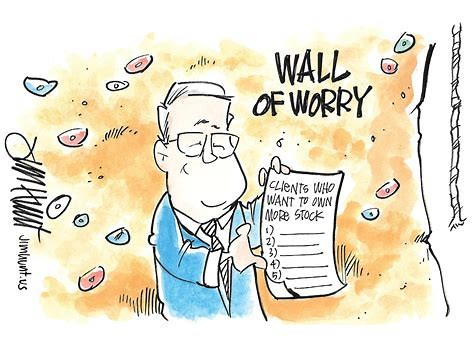 cartoon of man reading newspaper wall of worry